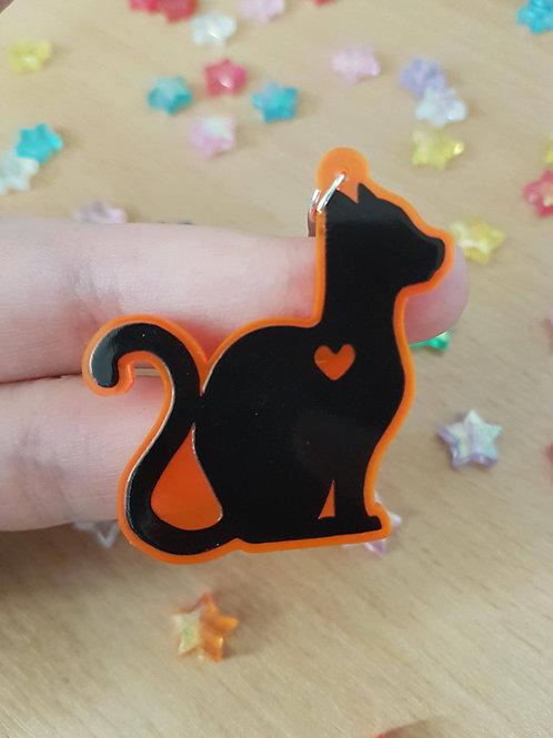 "Black Cat 2 "" Orange UV Acrylic Charm"