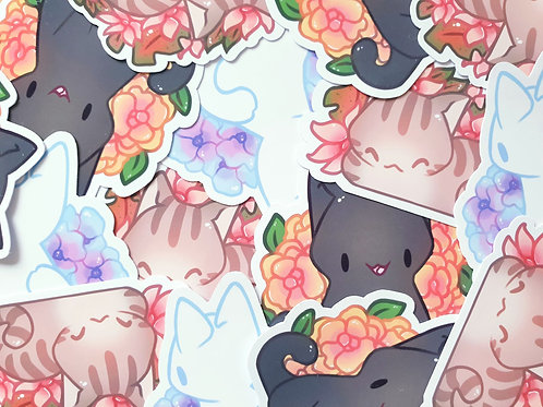 Cat Flower Stickers