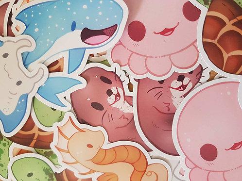 Chibi Sea Creatures Sticker Set