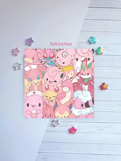 Poke Pink Square Print