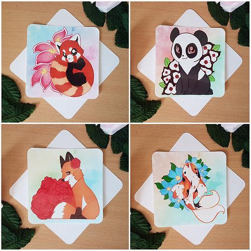Animal Flower Square Prints