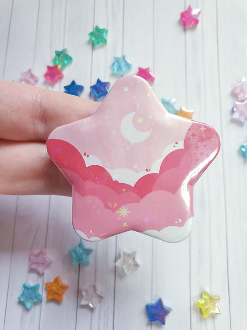 Holographic Pink Cloud Star Badge