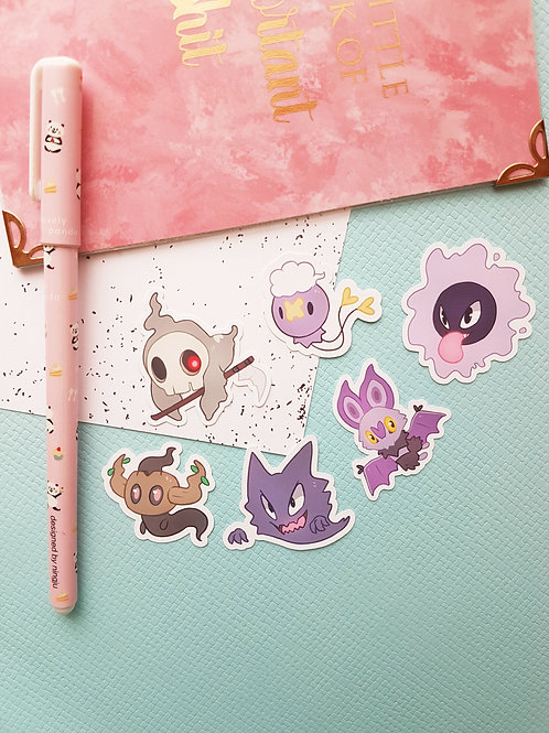 Ghost Pokemon Small Sticker Set