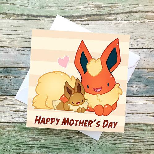 Flareon & Eevee Mothers Card