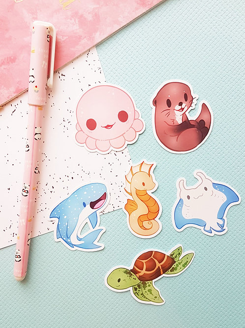 Sea Creatures Small Sticker Set