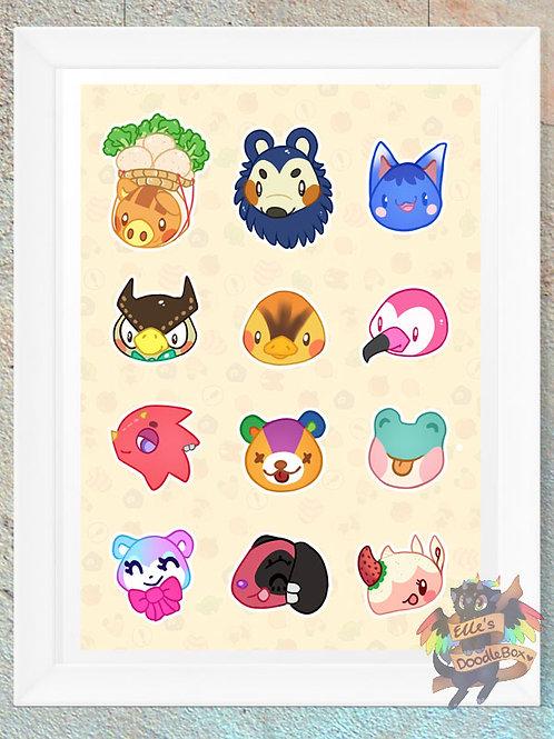 Animal Crossing Faces Print