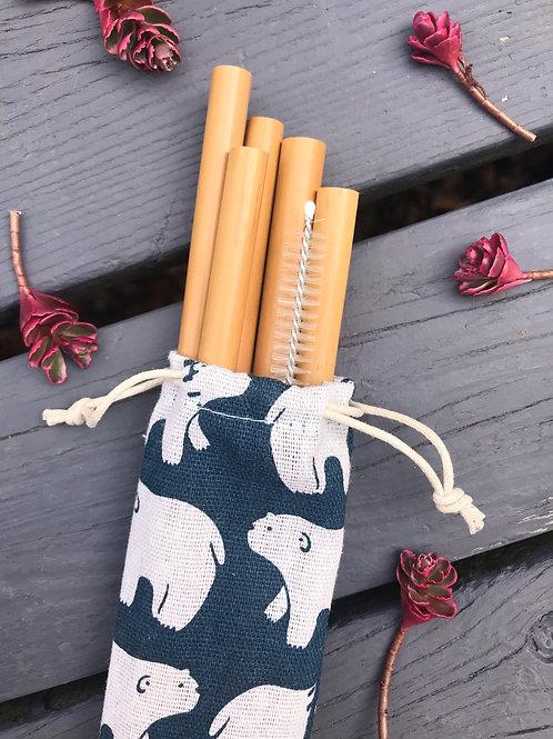Reusable Bamboo Straw Set