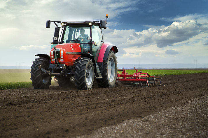 Roter Traktor auf dem Gebiet