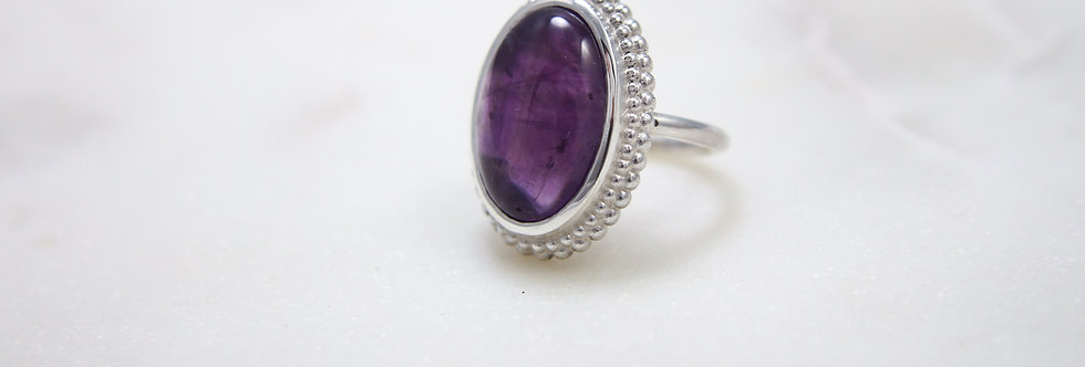 Mystic Garden big cocktail ring purple