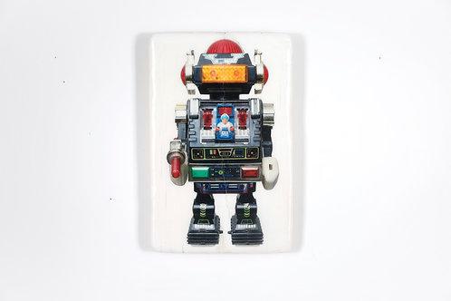 woodentiles.de, robot, schwarzer Roboter, Spielzeug aus den 70er