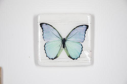 butterfly, Schmetterling blau, Epoxi Surface, woodentiles.de