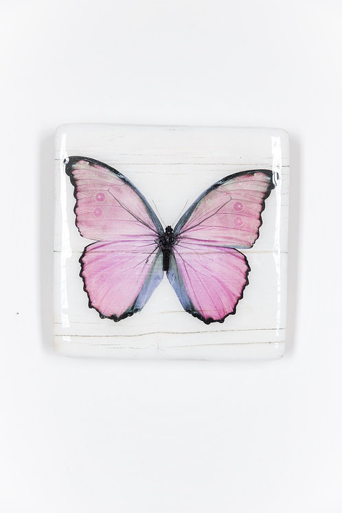 butterfly, Schmetterling rosa, Epoxi Surface, woodentiles.de