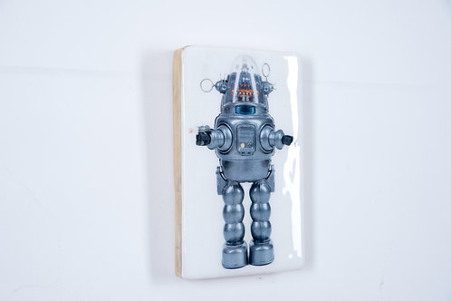 Holzkachel, woodentiles.de, robot, Robot 1997, Blechspielzeug, Wanddekoration,  Wall Art