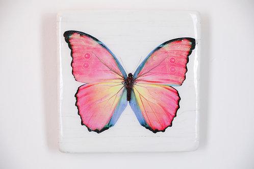 butterfly, Schmetterling orange/rot, Epoxi Surface, woodentiles.de