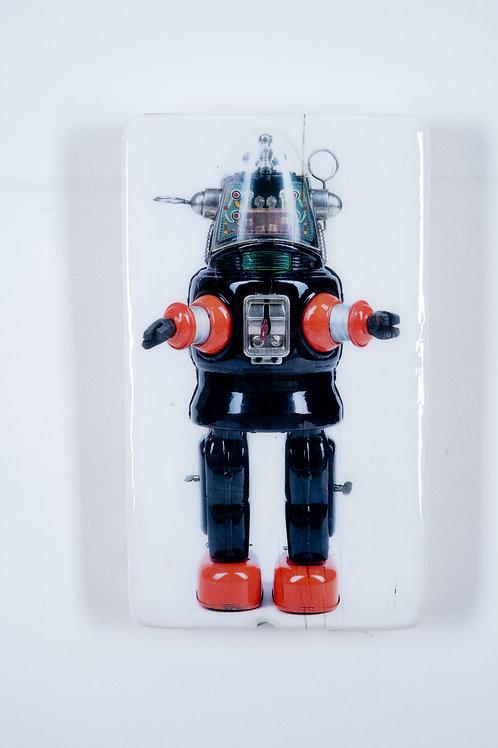 Holzkachel, woodentiles.de, robot, Robot 1957, Blechspielzeug, Wanddekoration,  Wall Art