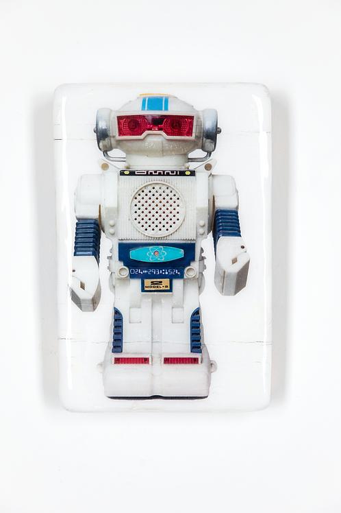 woodentiles.de, robot, weißer Roboter, Spielzeug aus den 70er