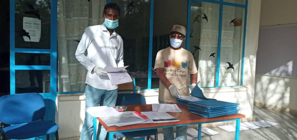 Handout home exam and worksheet distribu