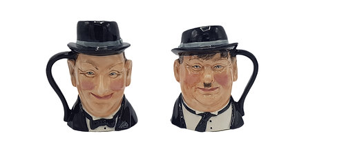 Bairstow Manor Pottery Character Jugs 'Laurel and Hardy'
