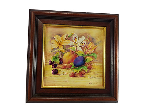 Rare Peter Smith Framed Tile 'Fruit Scene' Ex Doulton/Minton Painter