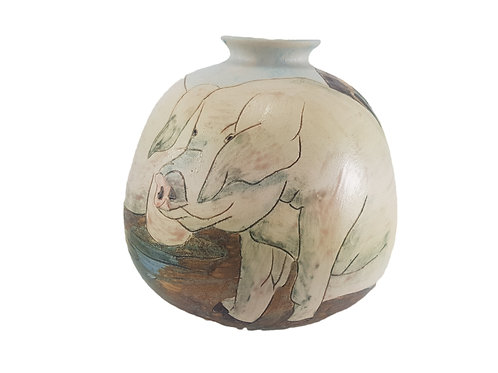 Burslem Pottery Vase 'Pigs In Muck'