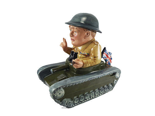 Bairstow Manor Pottery Figure Churchill In A Tank