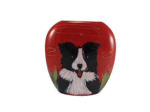 Limited Edition Anita Harris Art Pottery Purse Vase 'Border Collie'
