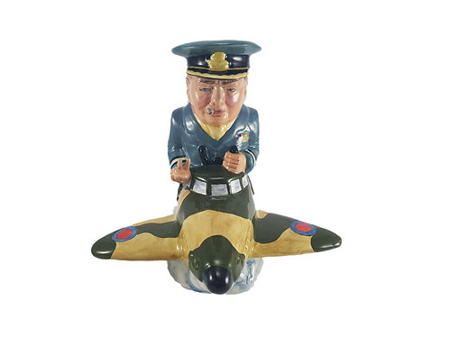 Bairstow Manor Pottery Figure Churchill In A Spitfire