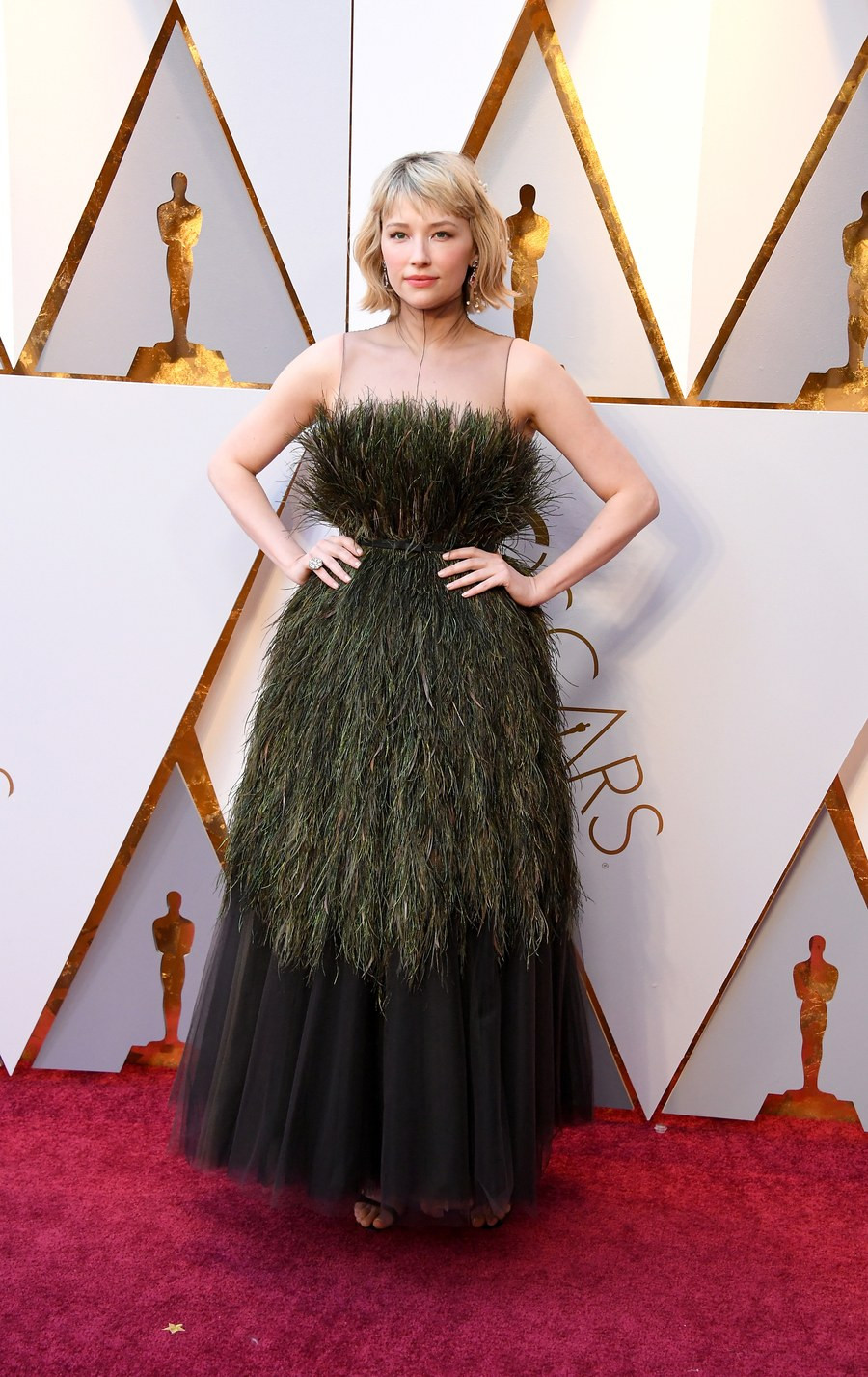 Haley Bennet wearing Dior Oscars 2018