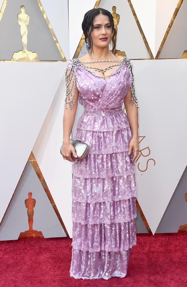 Salma Hayek wearing Gucci Oscars 2018