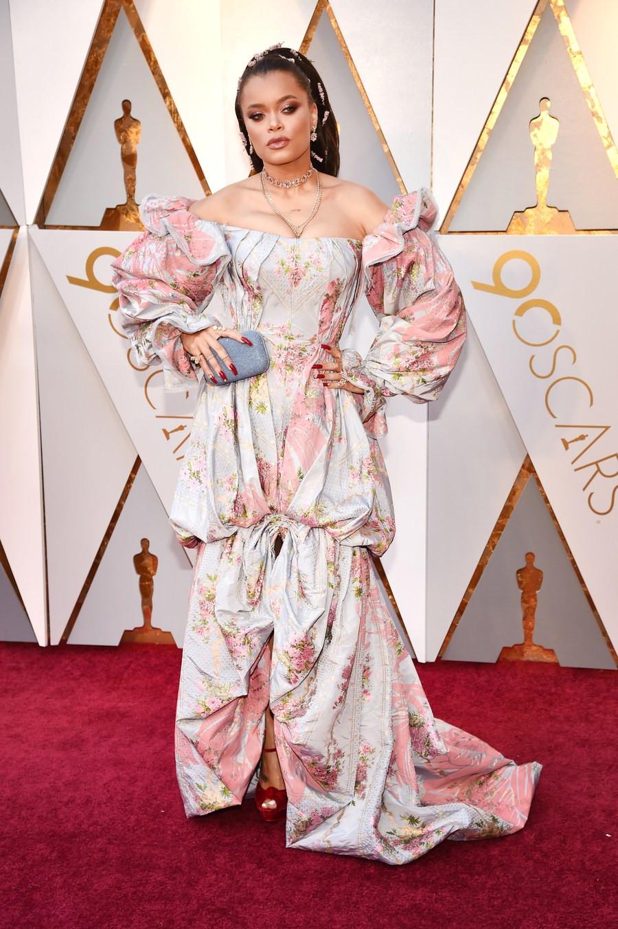 Andra Day wearing Zac Posen Oscars 2018