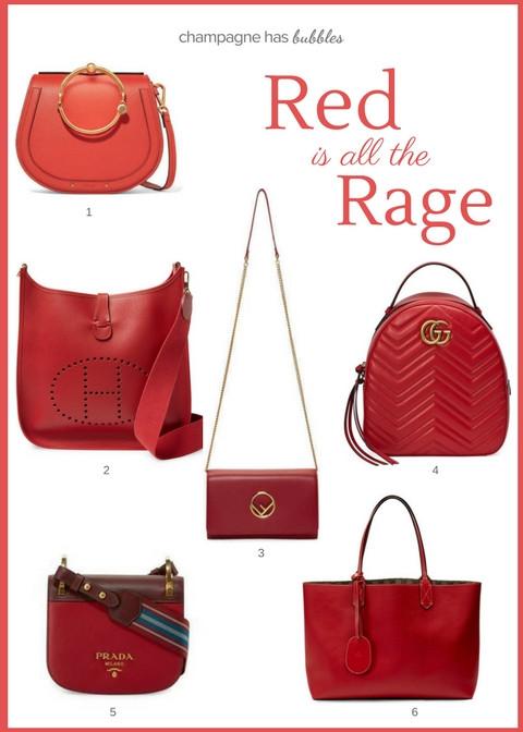 red handbags Chloe hermes gucci fendi Prada