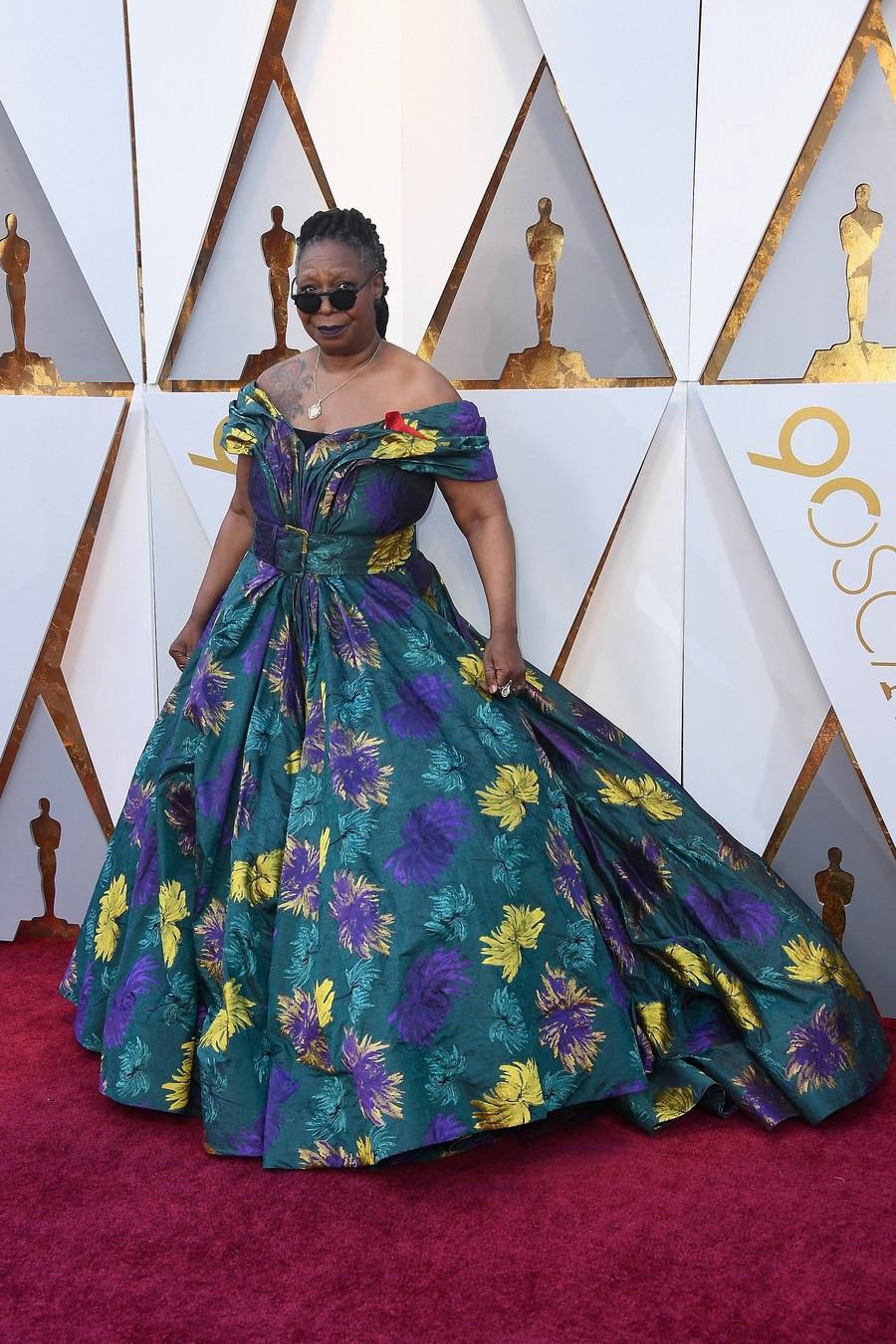 Whoopi wearing Christian Siriano Oscars 2018