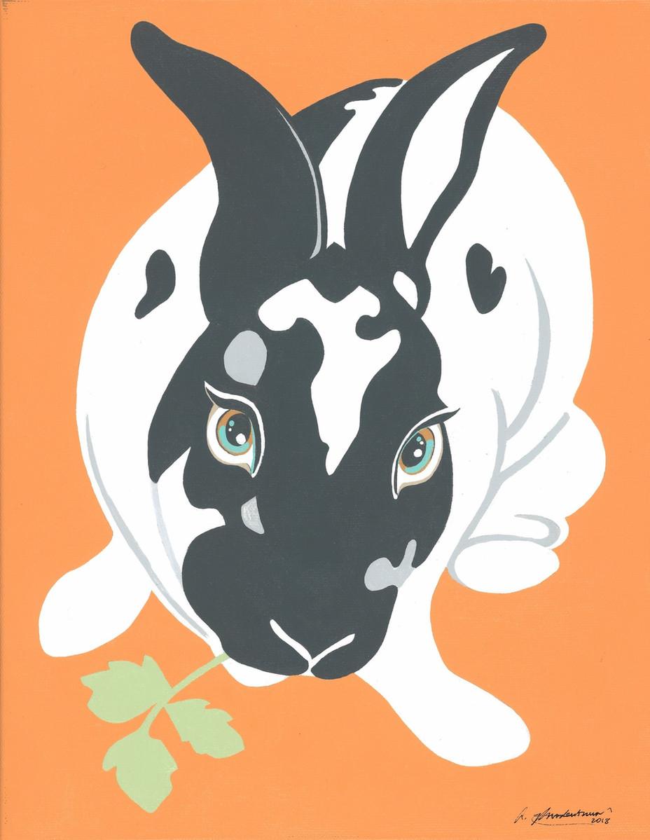 """Dusty Bunny"" Black White Orange Animal Pinup Painting"
