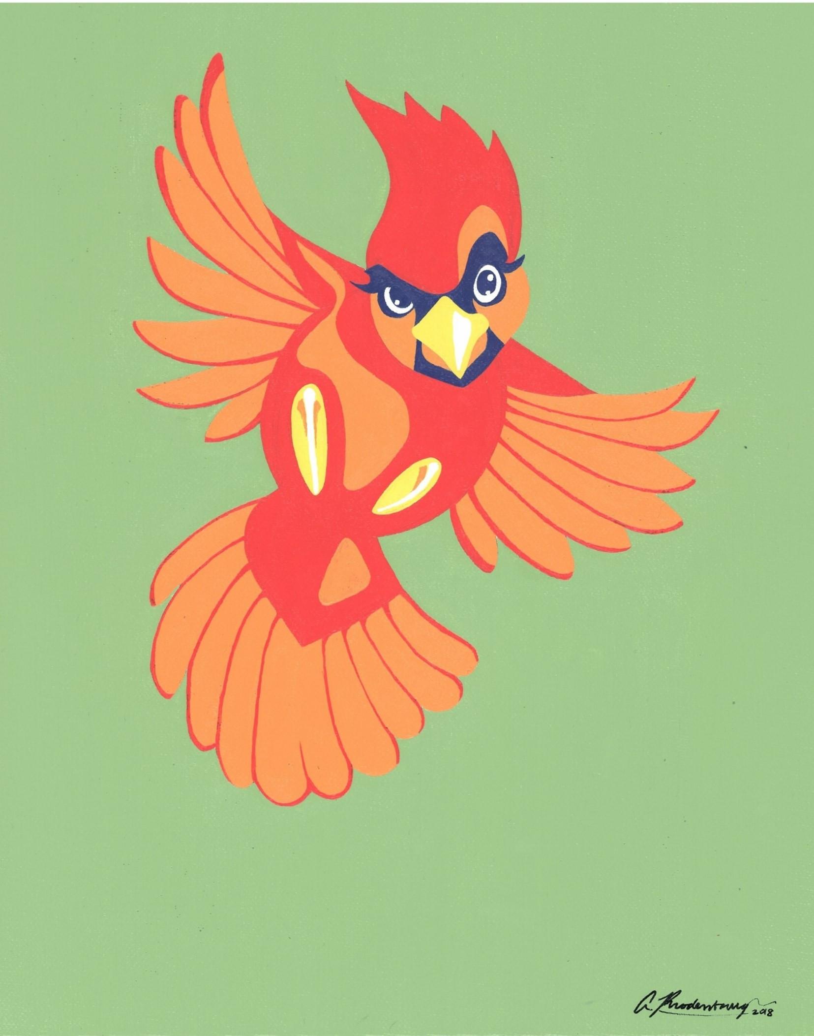 """Ballsy Cardinal"" St. Louis Red Green Animal Pinup Painting"