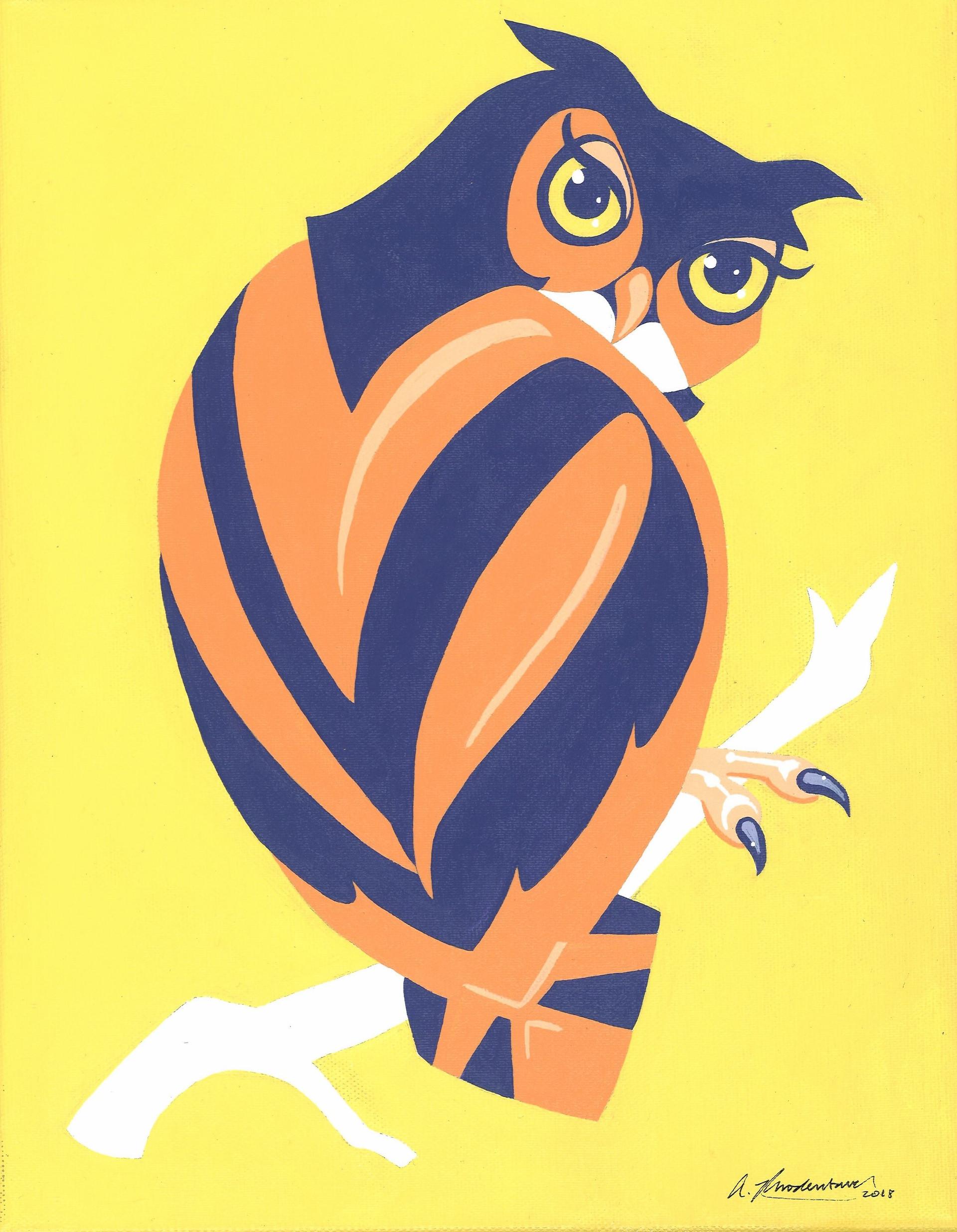 """Imperial Owl"" Orange Purple Yellow Animal Pinup Painting"