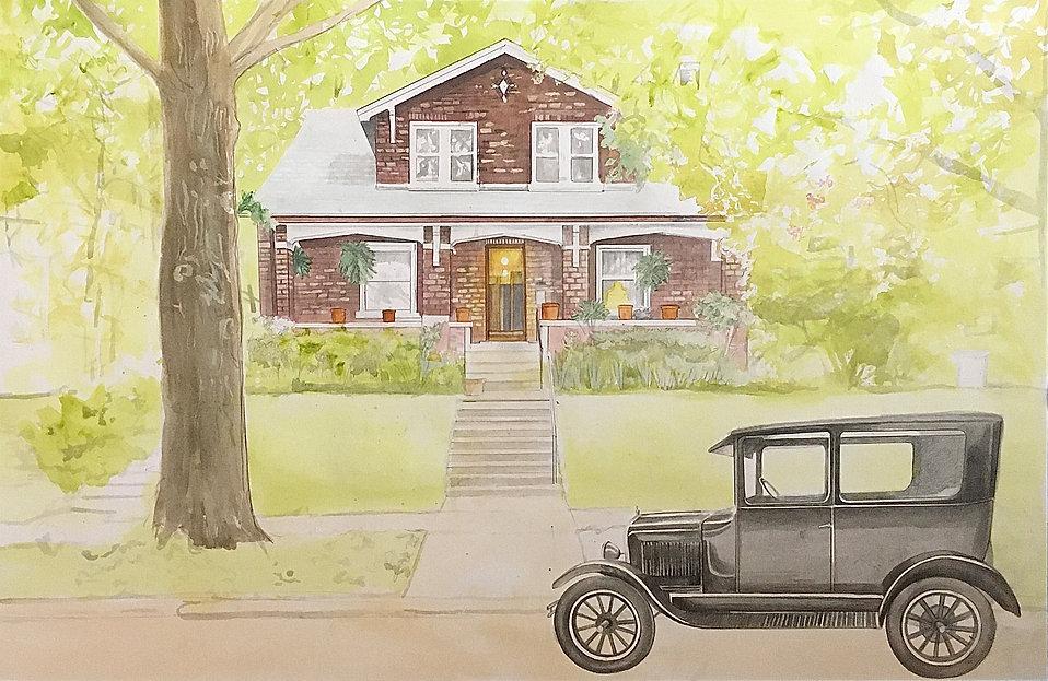 1920s Bungalow and Model T House Portrait