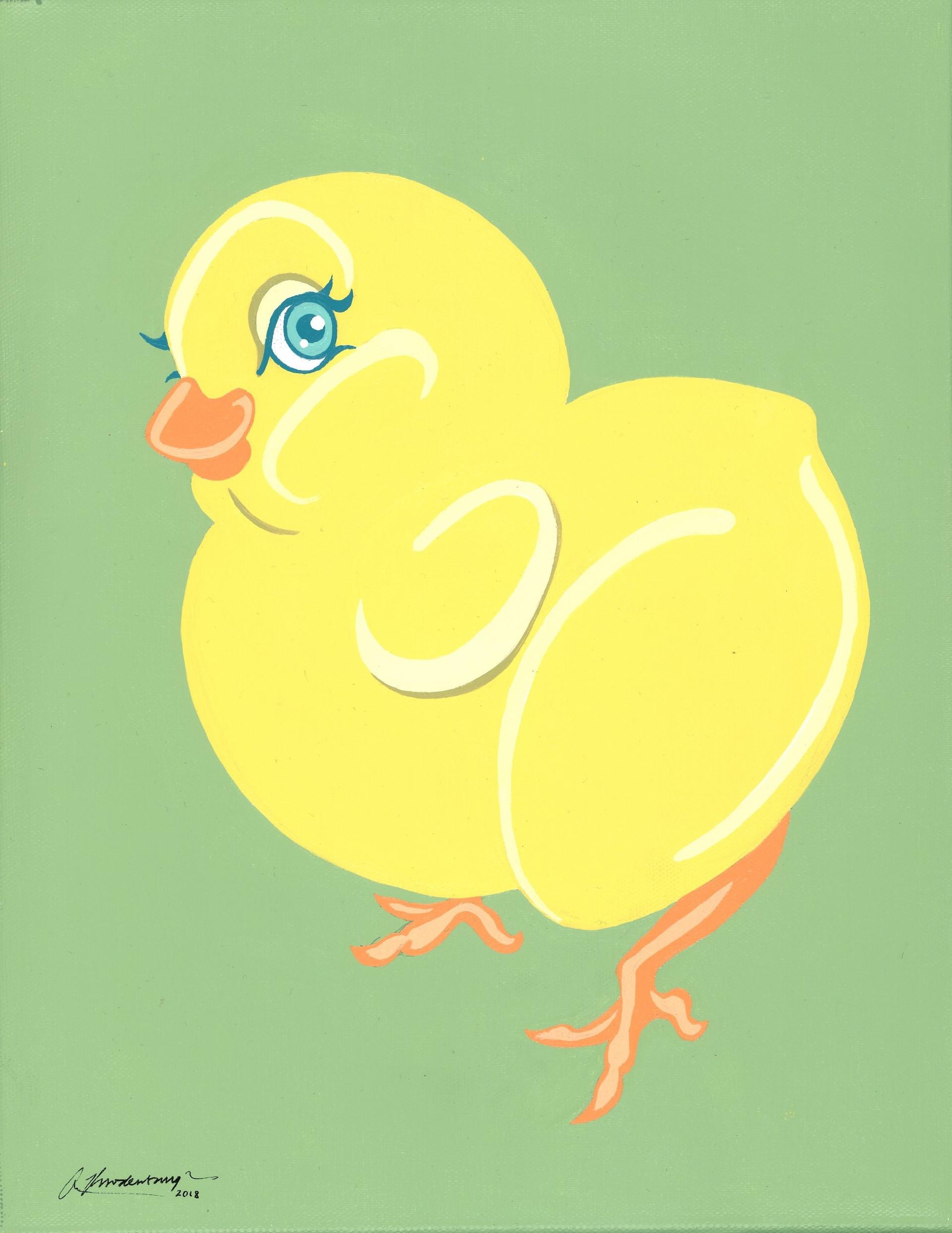 """Tough Chick"" Yellow Green Animal Pinup Painting"