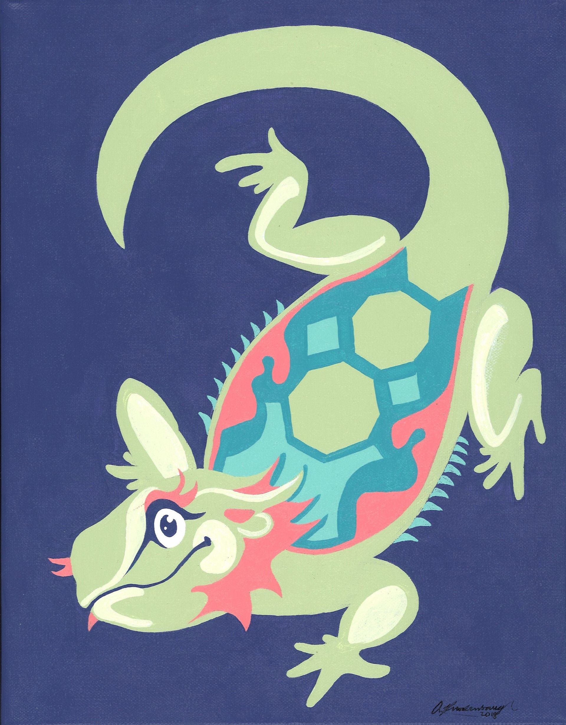 """Luminous Lizard"" Green Purple Bearded Dragon Animal Pinup Painting"