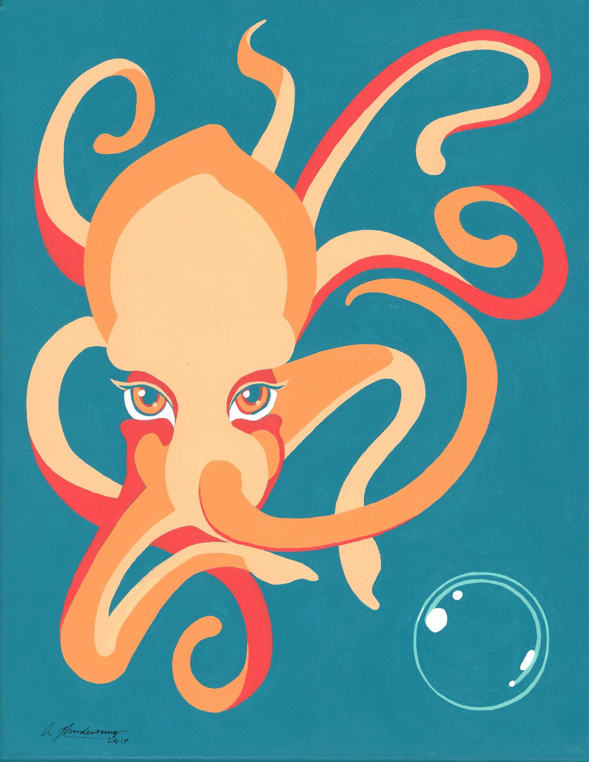 """Elusive Octopus"" Orange Blue Animal Pinup Painting"