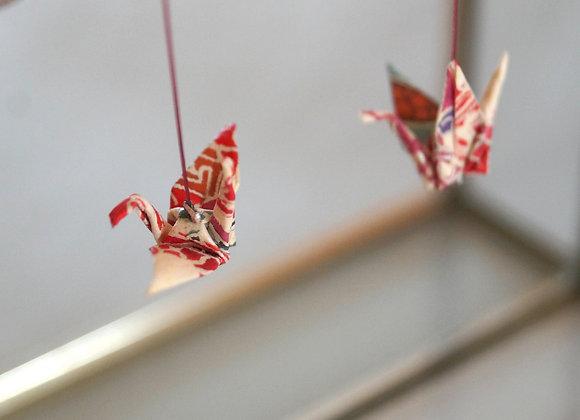 Boucles d'oreilles GRUES en origami papier japonais rouge et beige
