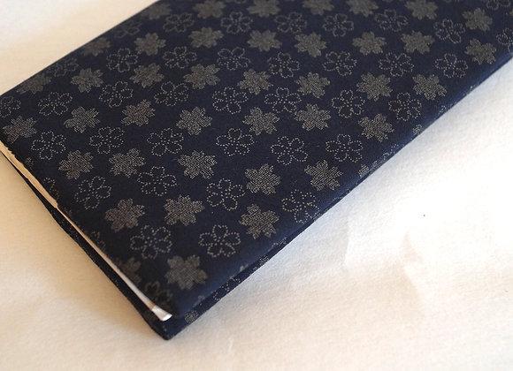 Porte-chéquier FUYU en tissu japonais bleu motif sakura