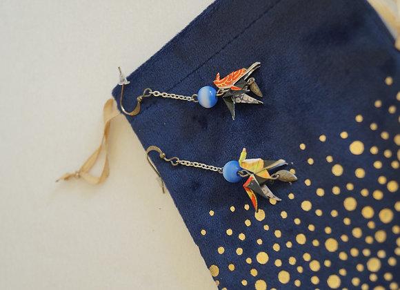 Boucles d'oreilles CHEVAUX en origami papier japonais noir, or et rouge