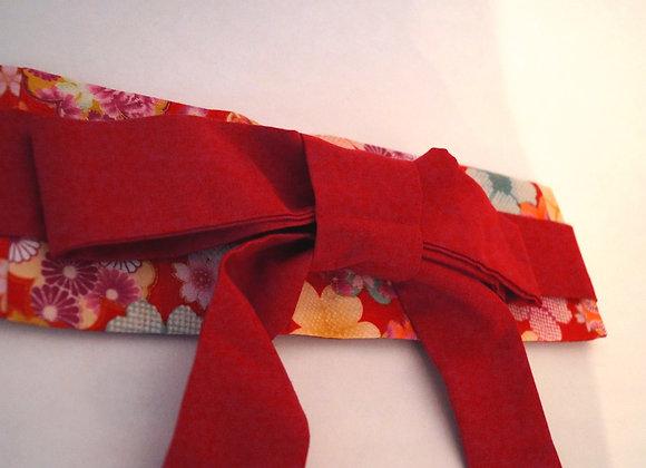 Ceinture obi rouge réversible motif sakura