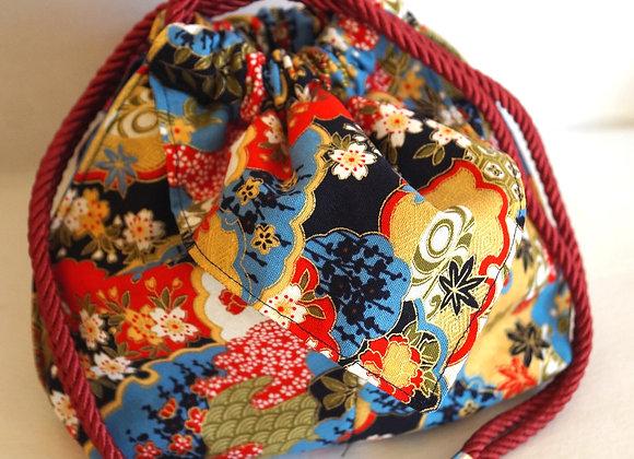 Bourse Kinchaku tissu japonais bleu Yuzen