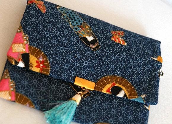 Porte-monnaie SAKURA en tissu japonais bleu motif geisha