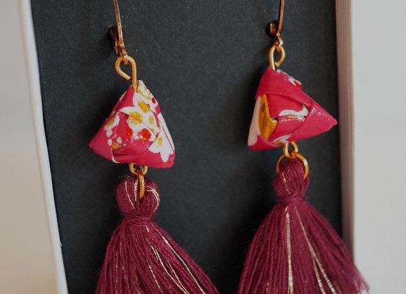 Boucles d'oreilles origami papier japonais rouge triangle