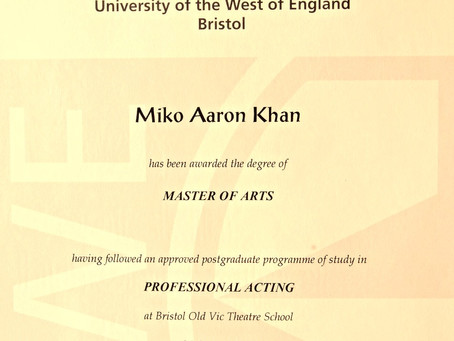 Graduated from the Bristol Old Vic Theatre School MFA in Acting