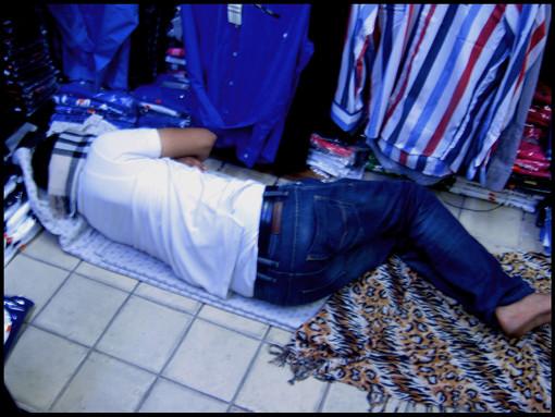 Tunisian sleeping at work