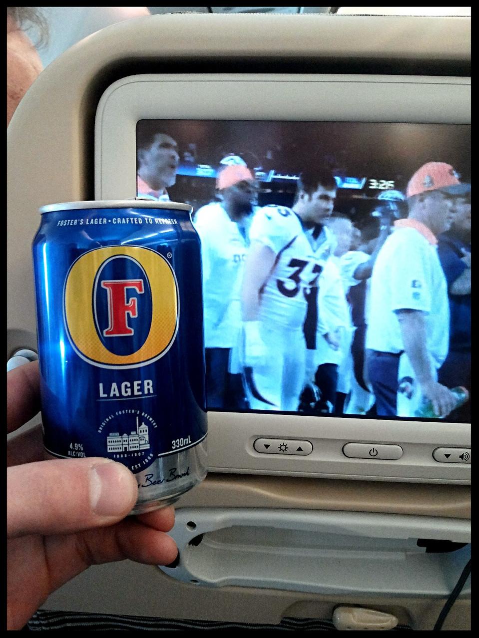 Beer and Football on flight