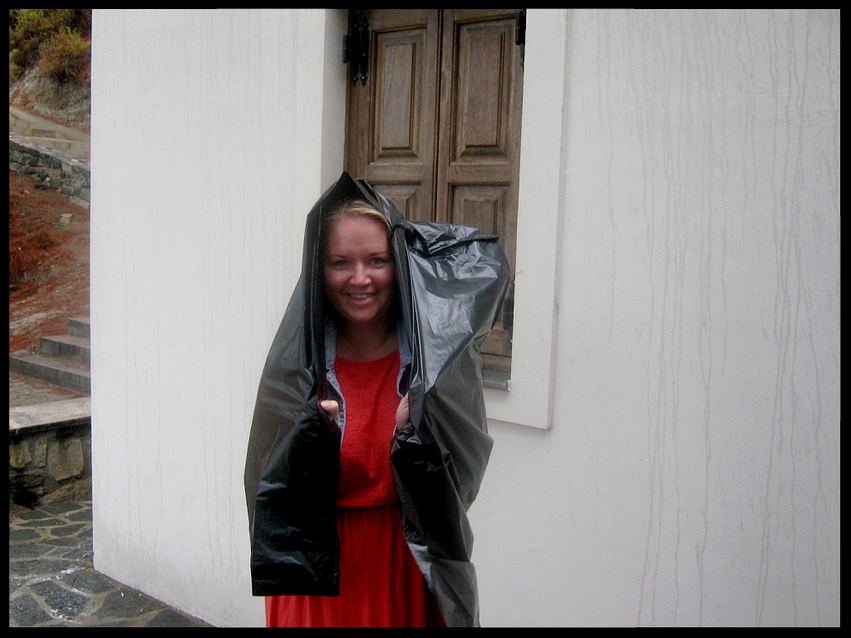Rain cover from a garbage bag